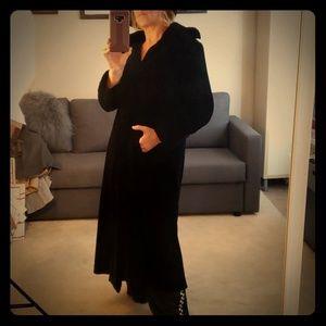 Halloween gothic black velvet coat S